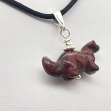 "Load image into Gallery viewer, Brecciated Jasper Diplodocus Dinosaur with Silver Pendant 509259BJS | 25x11.5x7.5mm (Diplodocus), 5.5mm (Bail Opening), 7/8"" (Long) 