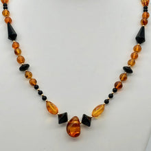 "Load image into Gallery viewer, Beautiful Sparkling Amber and Onyx Bead 30"" Necklace 210791 - PremiumBead Primary Image 1"