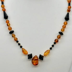 "Beautiful Sparkling Amber and Onyx Bead 30"" Necklace 210791 - PremiumBead Primary Image 1"