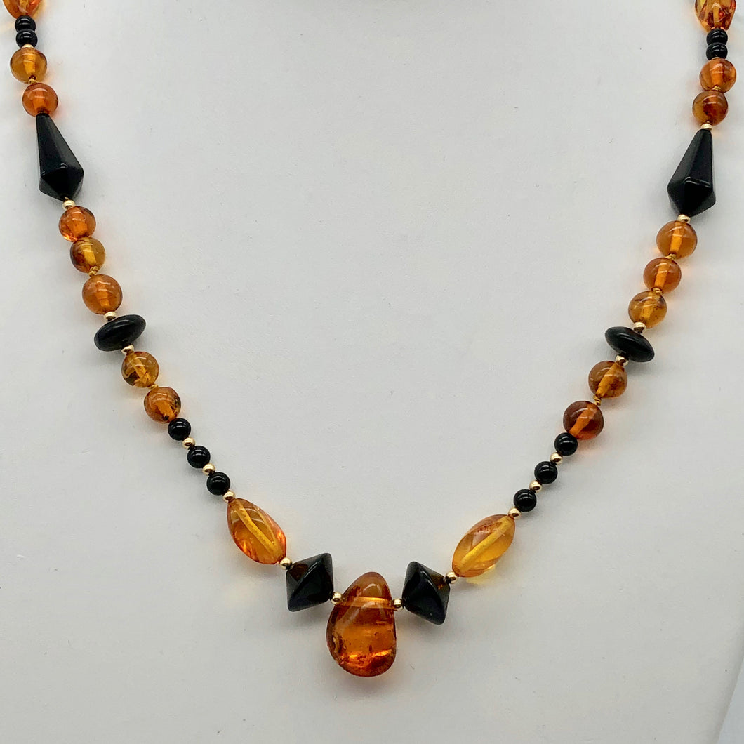 Beautiful Sparkling Amber and Onyx Bead 30
