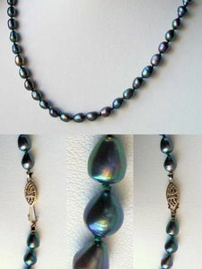 Fab Blue Peacock Freshwater Pearl & 14Kgf 26 inches Strand/String Necklace 9811 - PremiumBead