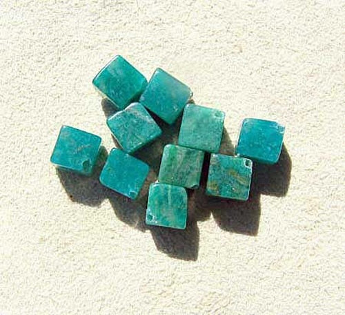 4 Natural Russian Amazonite Diagonal Cube Beads 7396 - PremiumBead Primary Image 1