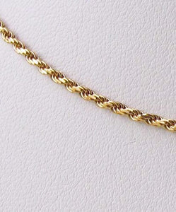 "Italian Vermeil 1.5mm Rope Chain 20"" Necklace 10024C - PremiumBead"