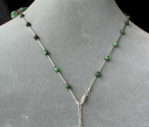 Designer Ruby Zoisite Drop & 925 Sterling Silver 18-21 inch Necklace 6337 - PremiumBead
