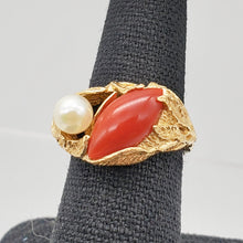 Load image into Gallery viewer, Natural Red Coral & Pearl Carved Solid 14Kt Yellow Gold Ring Size 5.75 9982D - PremiumBead Alternate Image 8