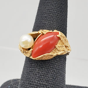 Natural Red Coral & Pearl Carved Solid 14Kt Yellow Gold Ring Size 5.75 9982D - PremiumBead Alternate Image 8