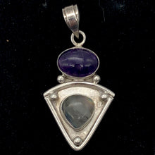 Load image into Gallery viewer, Alluring Amethyst and Labradorite Sterling Silver Pendant | 1 7/8 inch long |