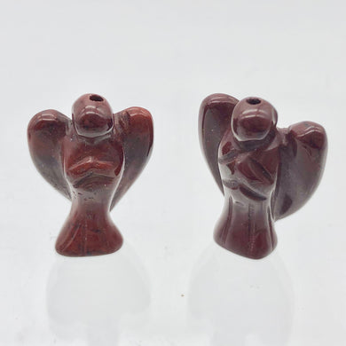 2 Hand Carved Brecciated Jasper Guardian Angels | 22x14x8mm | Red - PremiumBead