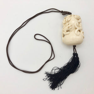 Intricate Waterbuffalo Bone Leopard Dragon Leaf Necklace 8128K - PremiumBead Alternate Image 3