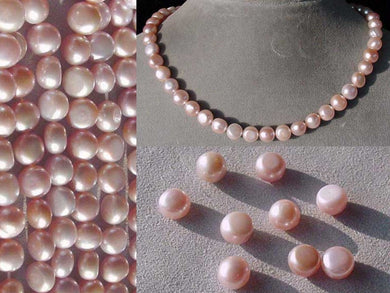 9 Beads of Enchanting Natural Pink FW Button Pearls 4475 - PremiumBead