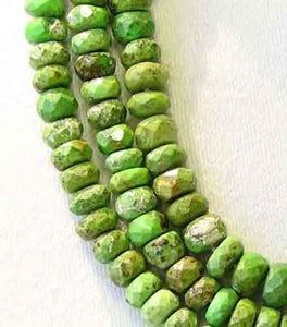 2 Natural Gaspeite Faceted Roundel Beads 9183 - PremiumBead
