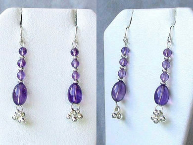 Shimmering Drops Purple Amethyst & 925 Sterling Silver Earrings 6490 - PremiumBead Primary Image 1