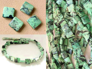 4 Beads of Mojito Mint Green Turquoise Square Coin Beads 7412C - PremiumBead