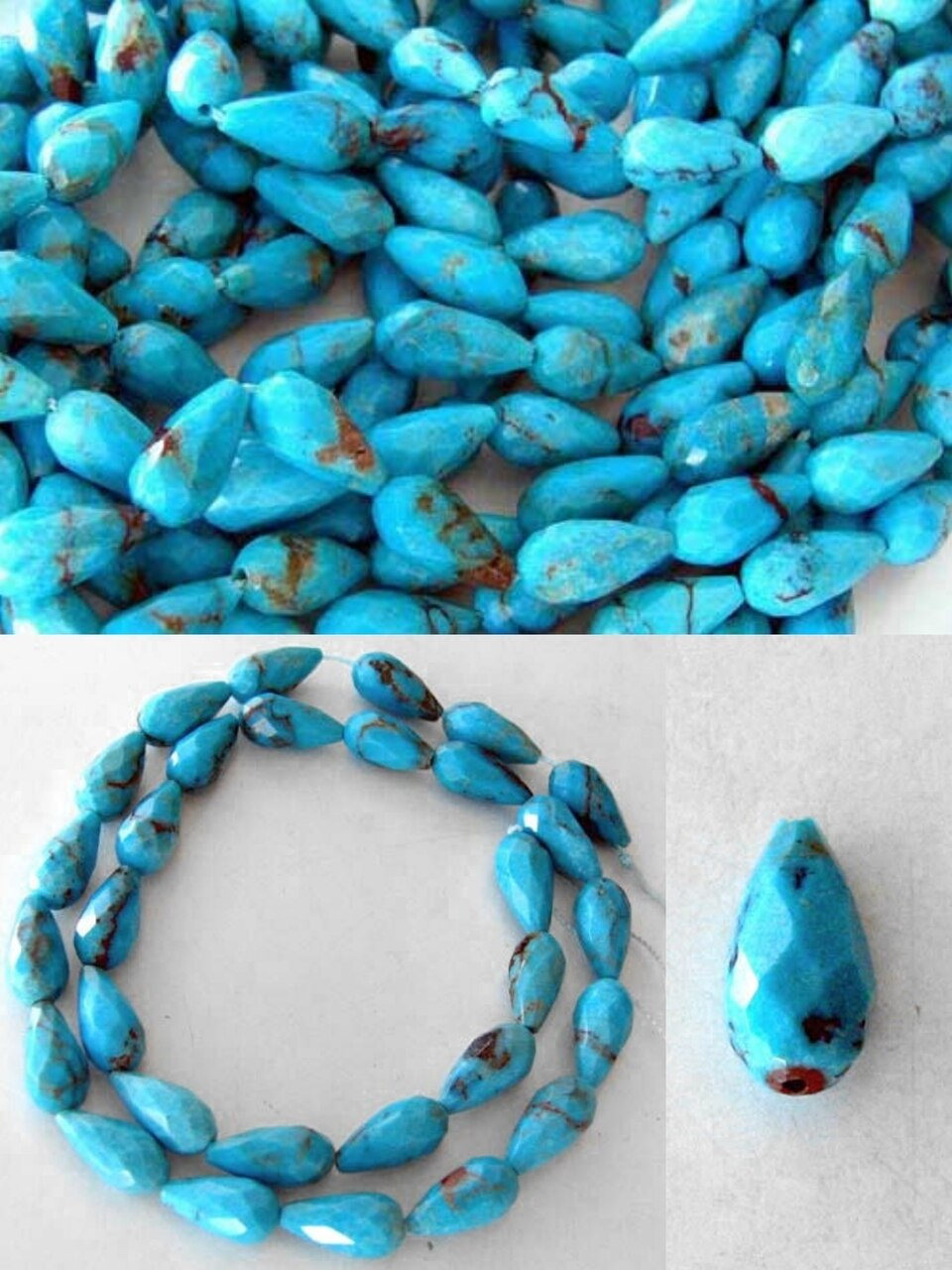 Natural Turquoise Faceted Teardrop Bead Strand 107404B - PremiumBead