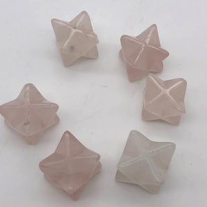 Kabbalah 2 Carved Rose Quartz Merkaba Star Beads | 25x15x15mm | Pink - PremiumBead Alternate Image 8