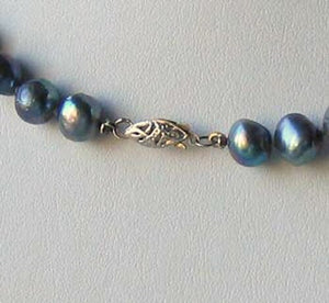 Blue Peacock Baroque Freshwater Pearl & Silver 22 inch Necklace 9814 - PremiumBead Alternate Image 3