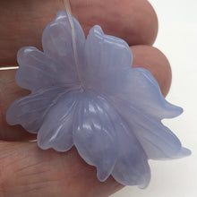 Load image into Gallery viewer, 42cts Exquisitely Hand Carved Blue Chalcedony Flower Pendant Bead - PremiumBead Alternate Image 3