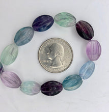 "Load image into Gallery viewer, Rare! Carved 14x10mm Oval Fluorite 13"" Bead Strand! - PremiumBead Alternate Image 7"