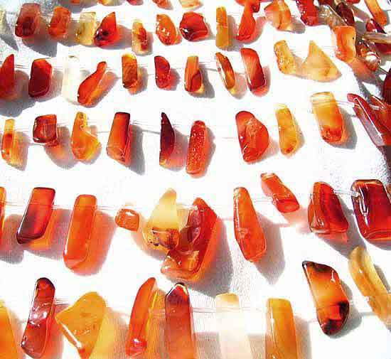 Designer 6 Wild Natural Carnelian Drop 20x6x5mm to 32x11x6mm Beads 8972 - PremiumBead Primary Image 1