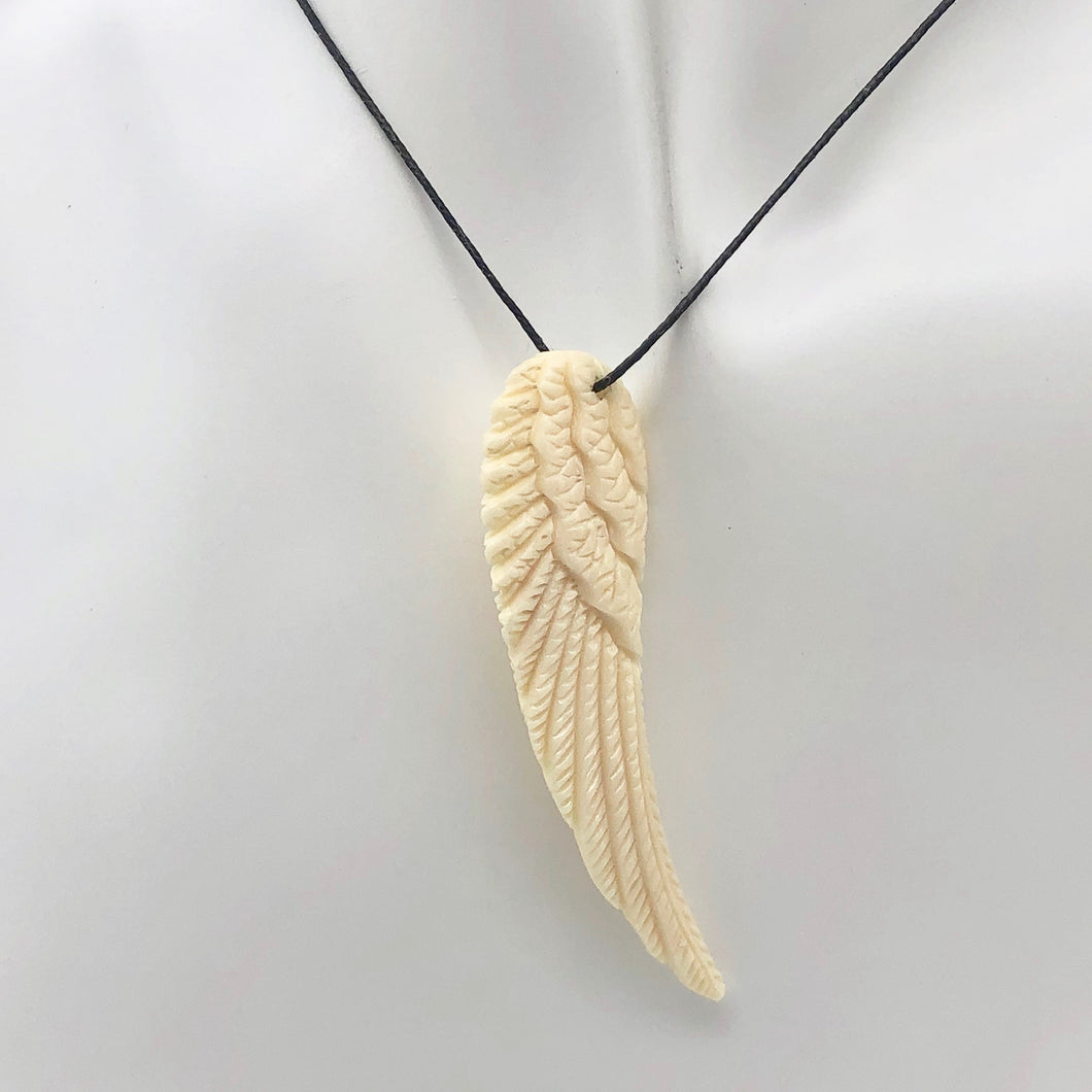 Water Buffalo Bone Carved Angel Wing Pendant Bead | 58.5x16x6mm | Bone | 10841 | 58.5x16x6mm | Cream - PremiumBead
