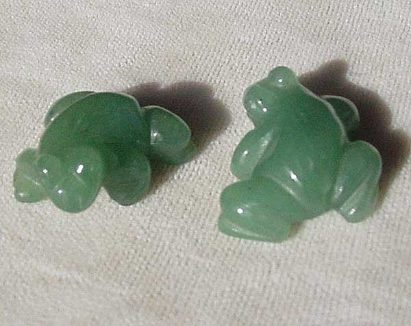Prosperity 2 Hand Carved Aventurine Frog Beads | 20x18x9.5mm | Green - PremiumBead
