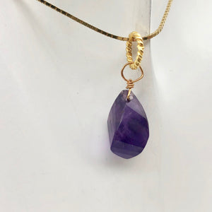 "AAA Amethyst Faceted Twist Briolette Pendant | 12.5x8mm, 1"" Long 