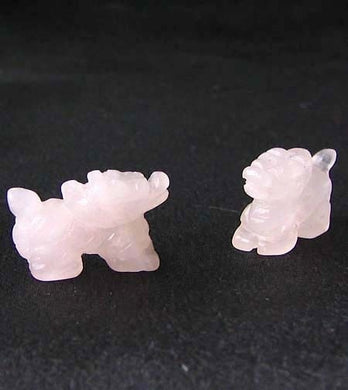 Powerful 2 Carved Rose Quartz Winged Dragon Beads | 21x14x9mm | Pink - PremiumBead