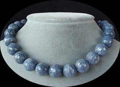 Faceted 14mm Blue Sponge Coral Beads 16