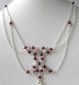 Dancer Round Red Rhodolite Garnet & Sterling Silver Choker Necklace 206636A - PremiumBead