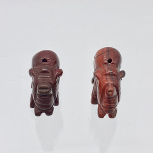 Wild 2 Hand Carved Brecciated Jasper Elephant Beads | 21x14.5x9mm | Red - PremiumBead