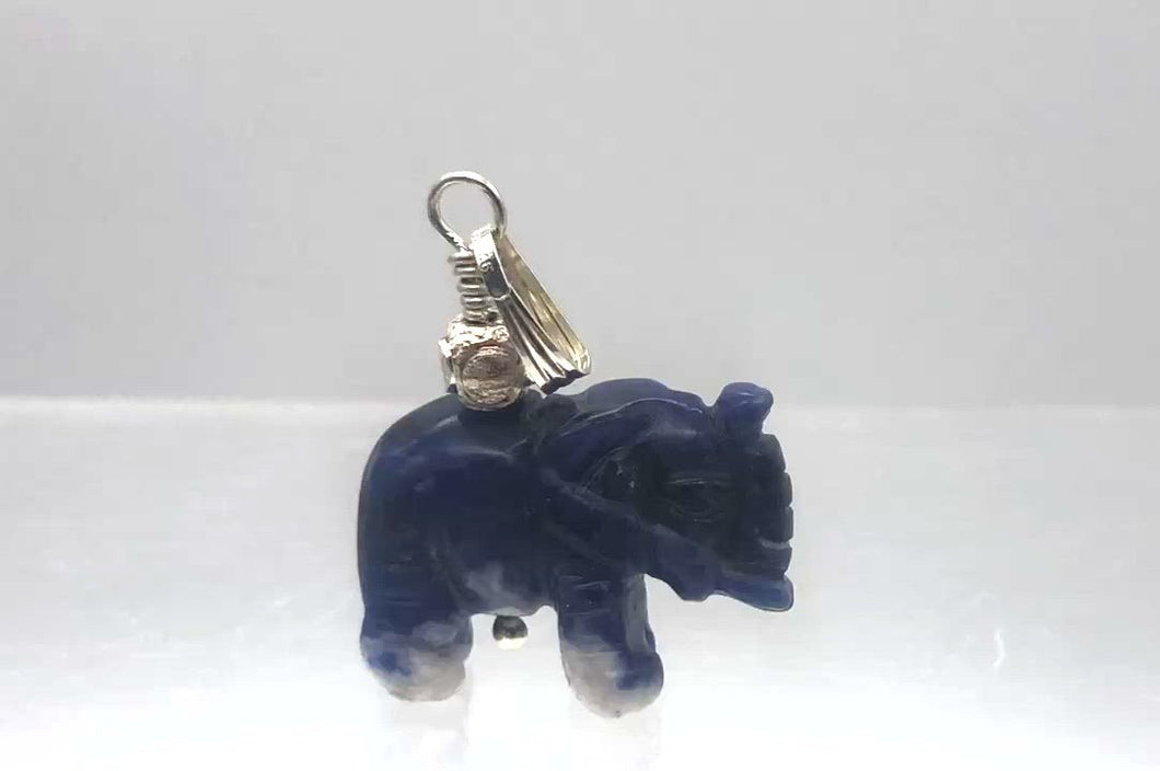 Hand Carved Sodalite Elephant Sterling Silver Pendant | 21x16x8mm| 1 1/4