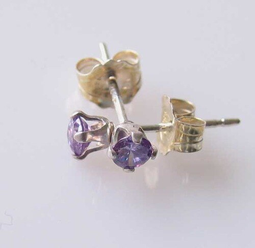 February! 3mm Created Amethyst & Silver Earrings 10146B - PremiumBead