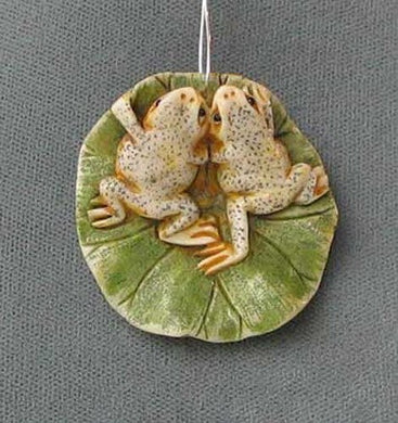 Work of Art Carved Loving Frogs Pendant Bead 5657B | 35x36x8mm | Cream, Green, Brown - PremiumBead