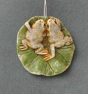 Work of Art Carved Loving Frogs Pendant Bead 5657B | 35x36x8mm | Cream, Green, Brown - PremiumBead Primary Image 1