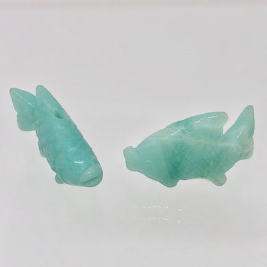 Hand-Carved Amazonite Fish Koi Carp Beads | 23x12x8mm | Blue - PremiumBead