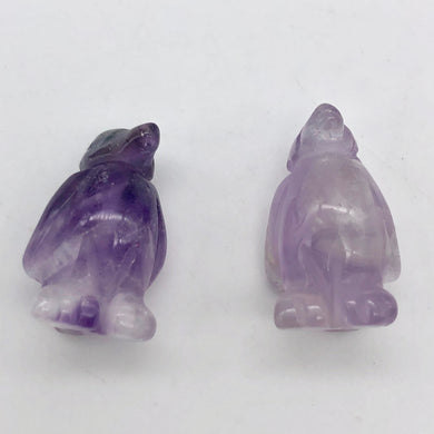 March of The Penguins 2 Carved Amethyst Beads | 21x12x11mm | Purple - PremiumBead Primary Image 1