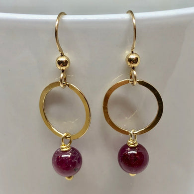 Circle Sapphire Earrings in 22K Vermeil 309453 - PremiumBead Primary Image 1
