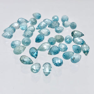 Pair (2) Rare Natural Blue Zircon Faceted 7x4.5-6.5x4mm Briolette Beads 5095A - PremiumBead