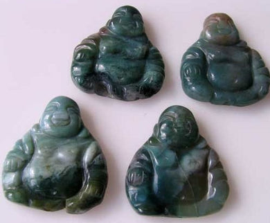 Exotic Fancy Jasper Hand Carved Buddha Bead | 33x30x7mm | Blue Green - PremiumBead Primary Image 1