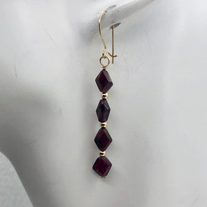 14K Gold Filled Red Pyrope Garnet Earrings | 2 inches long | - PremiumBead Alternate Image 4