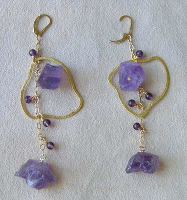 Designed in The USA Natural Amethyst 14Kgf Earrings 309021 - PremiumBead Primary Image 1