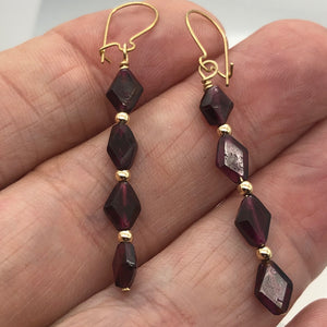 14K Gold Filled Red Pyrope Garnet Earrings | 2 inches long | - PremiumBead Alternate Image 10