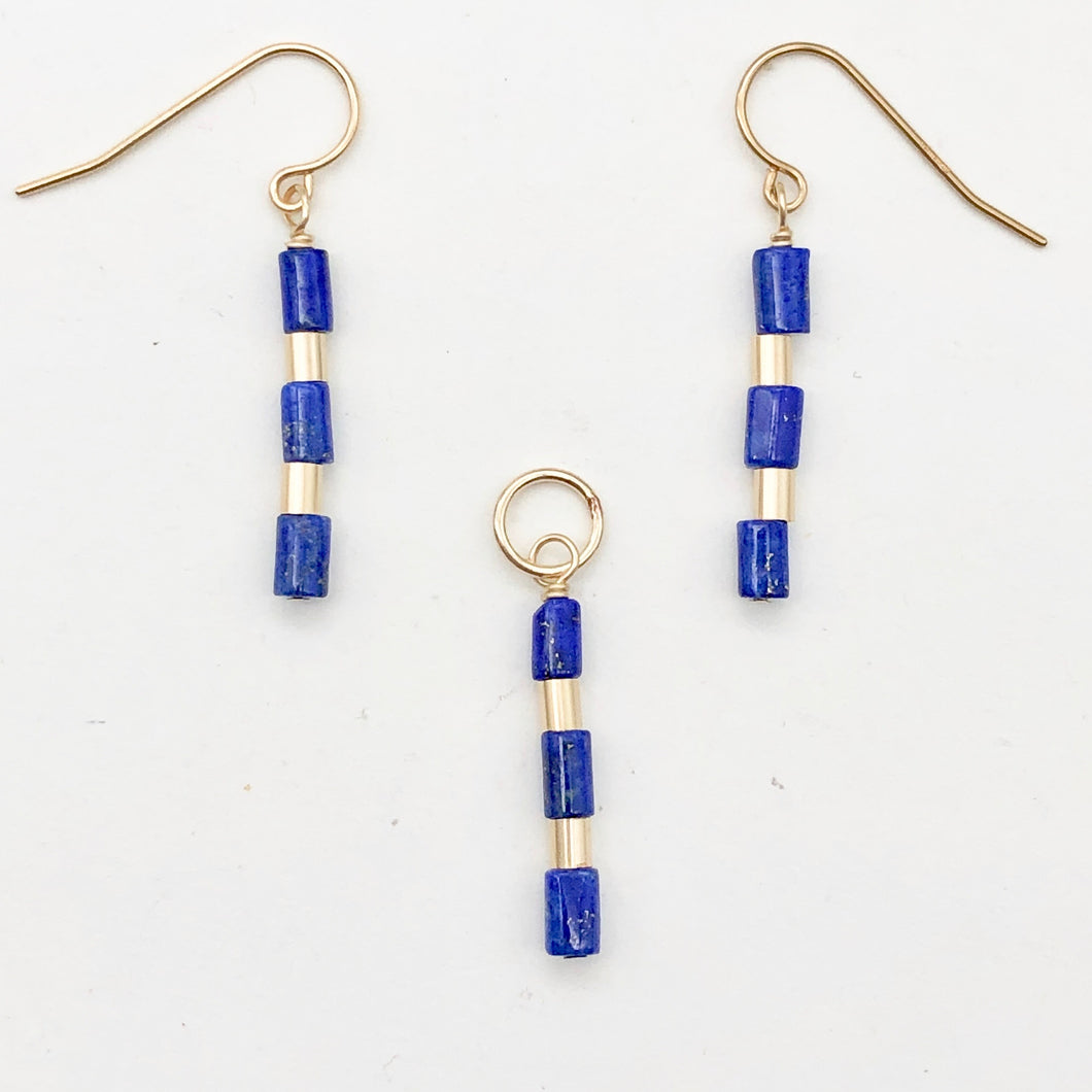 Natural Blue and Gold Lapis Earrings and Pendant 14kgf Set | 1 1/4