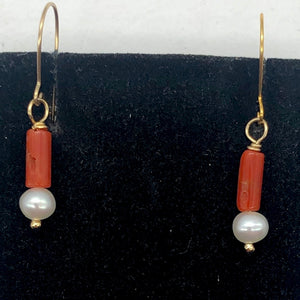 14Kgf Red Coral and Fresh Water Pearl Earrings | 1 Inch Long | - PremiumBead