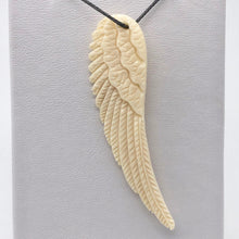 Load image into Gallery viewer, Water Buffalo Bone Carved Angel Wing Pendant Bead | 58.5x16x6mm | Bone | 10841 | 58.5x16x6mm | Cream - PremiumBead