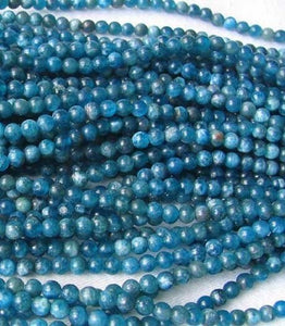 17 Stunning Blue Apatite 4mm Round Beads 008889B - PremiumBead Alternate Image 2