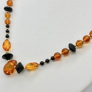 "Beautiful Sparkling Amber and Onyx Bead 30"" Necklace 210791 - PremiumBead Alternate Image 2"