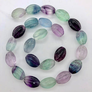 "Rare! Carved 14x10mm Oval Fluorite 13"" Bead Strand! - PremiumBead"