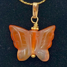 Load image into Gallery viewer, Carnelian Agate Butterfly Pendant Necklace | Semi Precious Stone |14k gf Pendant - PremiumBead
