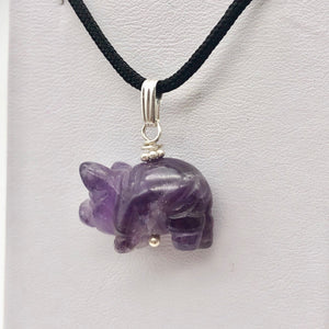 Piggie! Hand Carved Purple Amethyst Pig and Sterling Silver Pendant 509274DAMS - PremiumBead